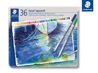 karat® aquarell 125 Hochwertiger, wasservermalbarer Farbstift Metalletui mit 36 sortierten Farben