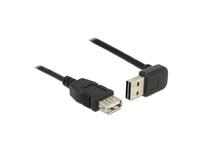 Verlängerungskabel USB 2.0 EASY Stecker A oben/unten gewinkelt an Buchse A, schwarz, 5m, Delock® [83550]