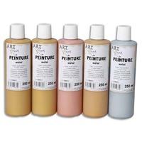 ART PLUS Lot de 5 flacons 250ml d'acrylique. Assortis métal : bronze, Beige, or rosé, or, métal