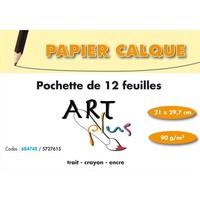 ART PLUS Pochette de 12 feuilles papier calque 90g format A4