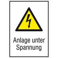 Modellbeispiel: Elektrokennzeichnung Kombischild mit Warnzeichen und Zusatztext, Anlage unter Spannung (Art.-Nr. 21.1238)