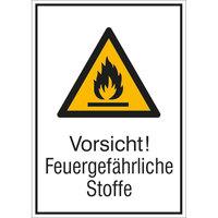 Vorsicht! Feuergefährliche Stoffe Warnschild, selbstkl. Folie, 13,10x18,50cm DIN EN ISO 7010 W021 + Zusatztext ASR A1.3 W021 + Zusatztext