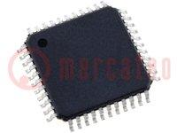 PIC mikrokontroller; Memória:32kB; SRAM:2048B; EEPROM:256B; SMD
