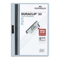 DURABLE Chemise de présentation Duraclip 30 à clip, couverture transparente - 1-30 feuilles A4 - Bleu