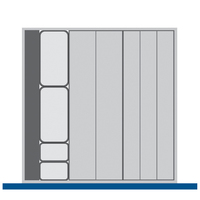 Produktbild - cubio Sortiment mit 6 Kompaktmulden 10 Steckwände, 1 Rinne mit 2 Steckwänden BxTxH: 525x525x28mm Kunststoff RAL 7011