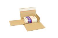 Buchverpackung Drehfix, 220 x 160 x 10 - 50 mm, braun, mit Selbstklebeverschluss