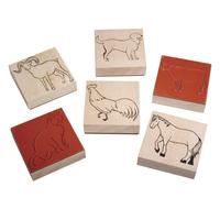 Produktfoto: Holz Stempelset Farmtiere