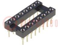 Sockel: DIP; PIN:16; 7,62mm; vergoldet; ØAusg:0,5mm; 1A; THT