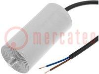 Kondensator: für Motoren, Betrieb; 6uF; 425VAC; Ø32x55mm; ±5%