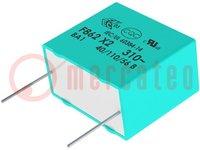 Kondenzátor: polypropylénový; X2; 390nF; 22,5mm; ±10%; 26x8,5x17mm
