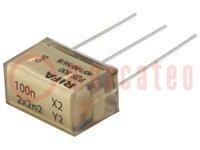 Filter: Entstörkondensator; Cx:100nF; Cy:2,2nF; Montage: THT; ±20%