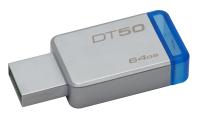 Kingston Technology DataTraveler 50 64GB USB flash drive USB Type-A 3.2 Gen 1 (3.1 Gen 1) Blauw, Zilver