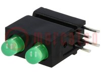 LED; in behuizing; groen; 3mm; Aant.diod:2; 20mA; 40°; 10-20mcd
