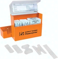 FIRSTAIDPS Pflasterspender aus ABS-Kunststoff, 160 x 122 x 57 mm, orange, mit tr
