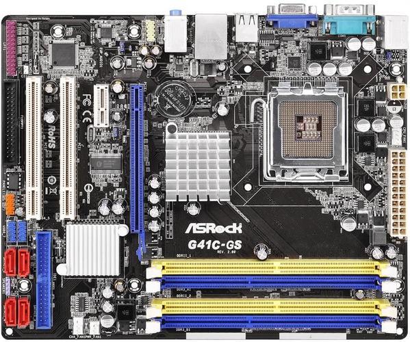ASRock G41C-GS R2.0, G41, ICH7, COMBO DDR2-800/DDR3-1066, 4xSATA2, VGA, mATX - G41C-GS R2.0