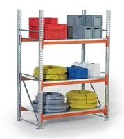 Schwerlastregal H2200xB2700xT800 Grundfeld verz.3 Stahlpaneel-Böden Trgf.2400kg