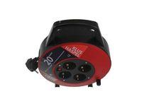 ETM Kabelbox 20 meter/ 4x contacten 3 x 1.0 mm2 vinyl snoer zwart/rood