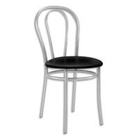 Chaise de collectivité Tulipan assise simili cuir Noir et structure alu - Assise D41 cm, hauteur 48/86 cm