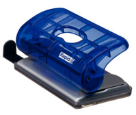 Kleiner Bürolocher FC5, Kunststoff/Metall, 10 Blatt, Blisterverp., transp. blau