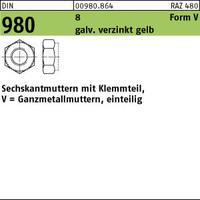DIN 980 8 V M 6 galv. verzinkt gelb chrom. gal ZnC VE=S (1000 Stück)