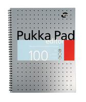 Pukka Pad Metallic Edtr Nbk Wbnd 80gsm Ruled Margin Perf Punch 4 Hole 100pp A4+ Silver Ref EM003 [Pack 3]