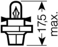 Glühlampe, Instrumentenbeleuchtung (Spannung 12V, Lampenart Sockelglühlampe, Sockelausführung BX8,4d, Nennleistung 1,2W )