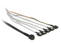 Kabel mini SAS HD SFF-8643 an 4 x SATA 7 Pin + Sideband 1 m Metall, Delock® [83316]