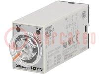 Časové relé; 0,1s÷10min; DPDT; 250VAC/5A; 24VDC; pätica; -10÷50°C