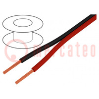 Wire: loudspeaker cable; 2x1mm2; stranded; CCA; black-red; PVC