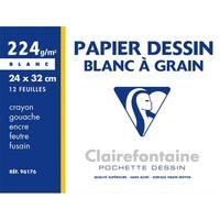 CLAIREFONTAINE Pochette de 12 feuilles papier dessin Blanc 24x32 224g Ref-96176