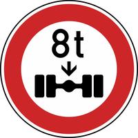 Anwendungsbeispiel: VZ Nr. 263, (Verbot für Fahrzeuge über... Achslast)