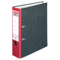 Ordner maX.file nature A4 8cm rot, Wolkenmarmorbezug/Papier grau