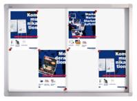 Schaukasten PRO für 9x A4, Schiebetüren, 73 x 99 x 4,6 cm, weiß