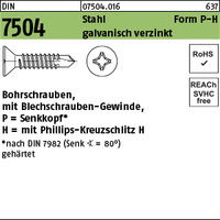 DIN 7504 Stahl P 6,3 x 45 -H galv. verzinkt, SEKO gal Zn S