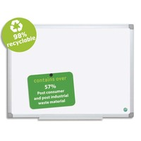 BI-OFFICE Tableau Blanc Earth acier émaillée, magnétique, cadre aluminium, recyclé, auget Ft L90 x H60 cm