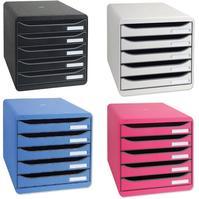 Exacompta Big Box Plus Drawer Set Plastic 5 Drawers each H43mm A4plus Black Ref 309714D