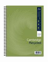 Cambridge Notebook Recycled Wirebound Ruled Margin 200pp 80gsm A4 Green Ref 100080423 [Pack 3]
