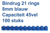 BINDRUG FELLOWES 8MM 21RINGS A4 BLAUW