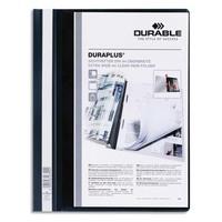 DURABLE Chemise de présentation Duraplus à lamelle A4 - personnalisable + gouttière de passage - Noir