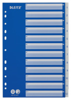 Plastikregister 1-12, A4, PP, 12 Blatt, Blisterverpackung, weiss