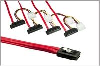 kabelmeister® Anschlusskabel SAS, Mini 36-pin Stecker (SFF-8087) auf 4x 29-pin Stecker (SFF-8482), gewinkelt, 0,75m