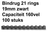 BINDRUG FELLOWES 19MM 21RINGS A4 ZWART
