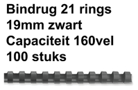 BINDRUG GBC 19MM 21RINGS A4 ZWART