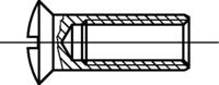 Linsensenkkopf-Hülsenmuttern mit Schlitz, Messing vernick. M5x9x10mm HP