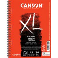 CANSON Album de 60 feuilles papier dessin CROQUIS XL spirale grand côté 90g A5 Ref-787221