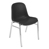 Chaise Coque Beta Noire sans accroche, piètement en acier chromé, empilable 40 x 40 cm, hauteur 81cm