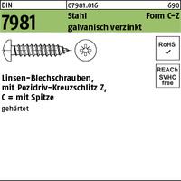 DIN 7981 Stahl 3,5 x 19 -C-Z galv. verzinkt passiviert gal Zn K