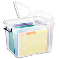 CEP Boîte de rangement Smart Box Strata avec couvercle clipsé dims int.30,3x38,9x30,4cm transparent 40L