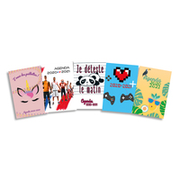 Agenda septembre à septembre 1J/P, 320 pages, couverture brochée - Format : 12 x 18 cm. 5 visuels ados