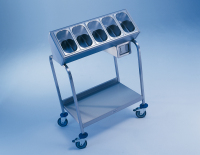 Produktbild - Besteck- und Tablettwagen BT 400 inkl. 5 Besteckbehälter der Größe GN 1/4-150 aus CNS und 1 CNS-Serviettenspender, Rollen stahlverzinkt